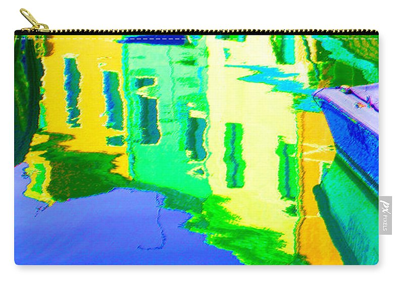 Yellow Carry-all Pouch featuring the digital art Yellow Toned Reflections by Donna Corless