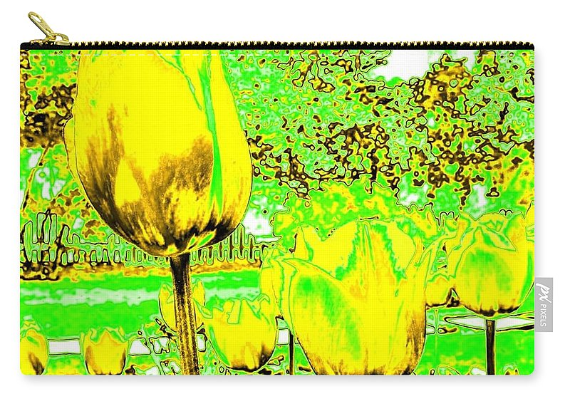 Abstract Carry-all Pouch featuring the digital art Yellow Tulips Abstract by Will Borden