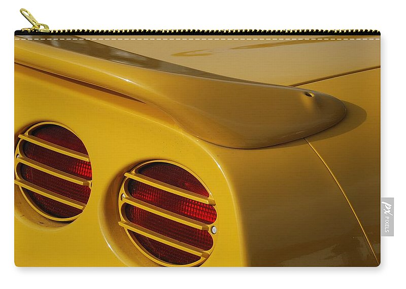 Corvette Carry-all Pouch featuring the photograph Yellow Vette Lights by Rob Hans