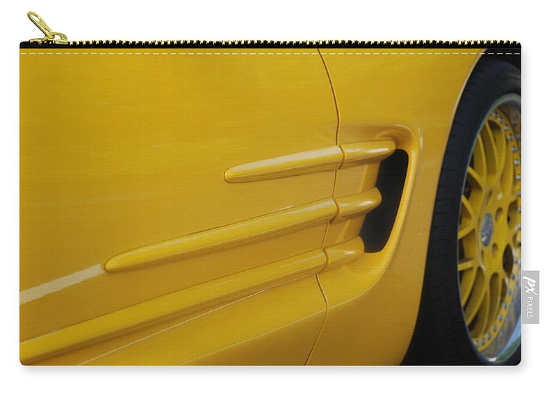 Corvette Carry-all Pouch featuring the photograph Yellow Vette by Rob Hans