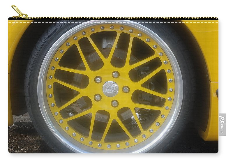 Corvette Carry-all Pouch featuring the photograph Yellow Vette Wheel by Rob Hans