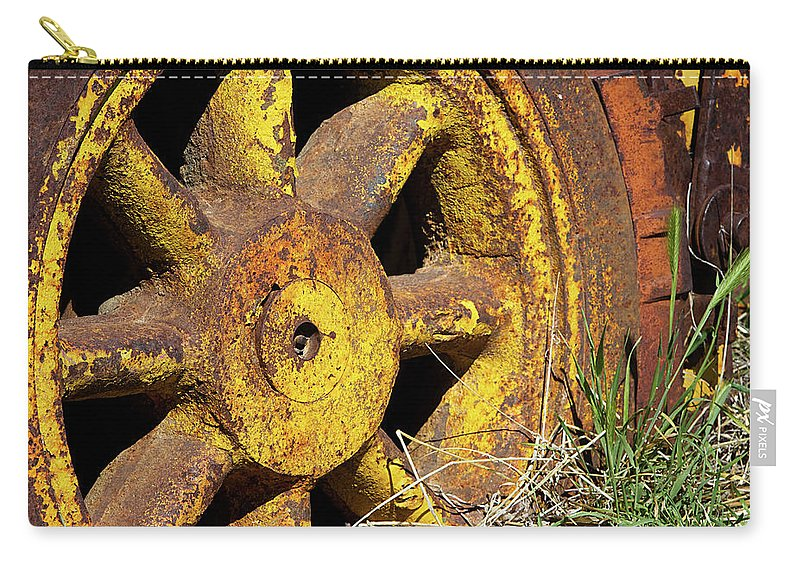 Wheel Carry-all Pouch featuring the photograph Yellow Wheel by Phyllis Denton