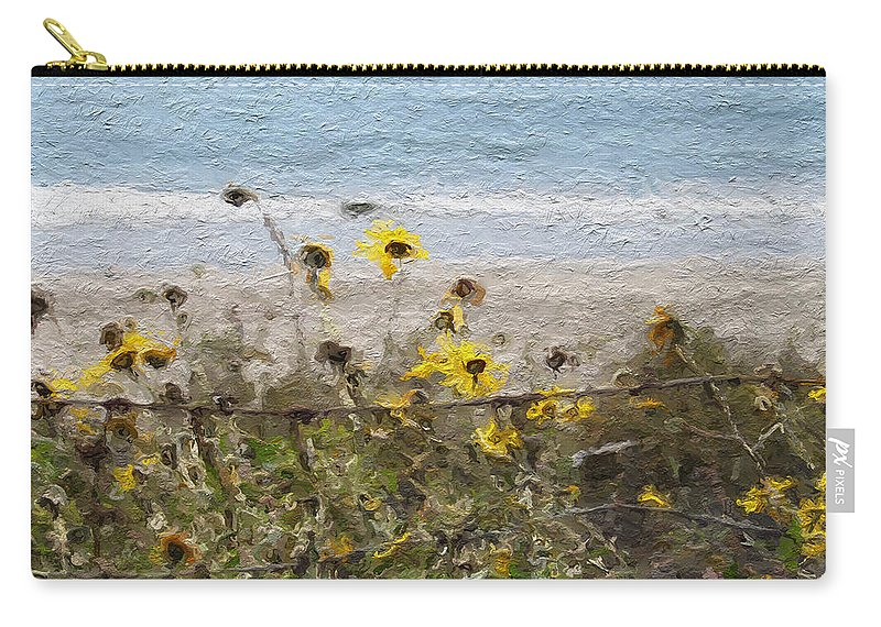 Yellow Carry-all Pouch featuring the painting Yellow Wildflowers- Art by Linda Woods by Linda Woods