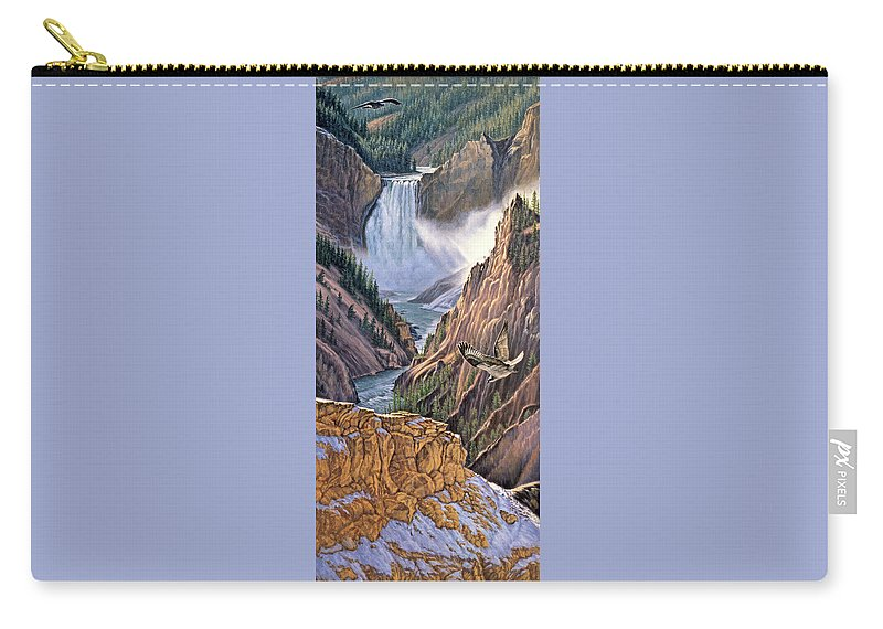 Yellowstone Park Carry-all Pouch featuring the painting Yellowstone Canyon-osprey by Paul Krapf
