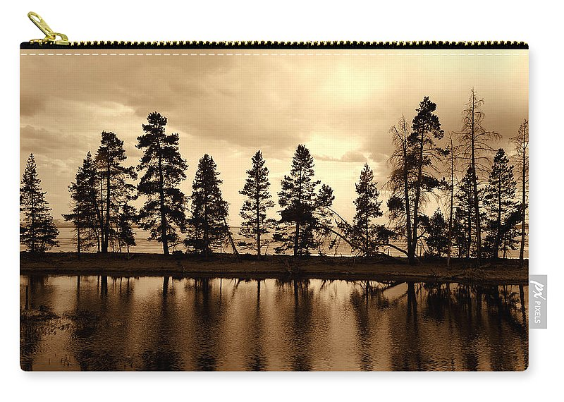 Photography Carry-all Pouch featuring the photograph Yellowstone Lake by Susanne Van Hulst