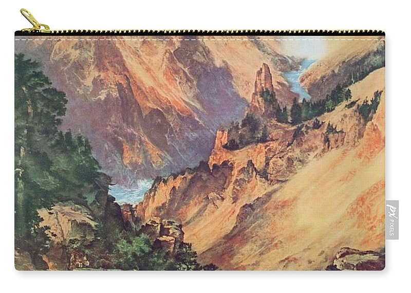 Northern Pacific Railway; Picturesque; American Landscape; Waterfall; Panorama; Hot Springs; Geyser; National Park; Wyoming; Montana; Idaho; Gorge; Valley; Nature Reserve; Grand Canyon; Rocks; Dramatic; National Park; Mountains; Mountainous; Travel; Tourism; Advertisement; Advert; Publicising; Publicity; Vintage Poster;thomas Moran Carry-all Pouch featuring the painting Yellowstone Park by Thomas Moran