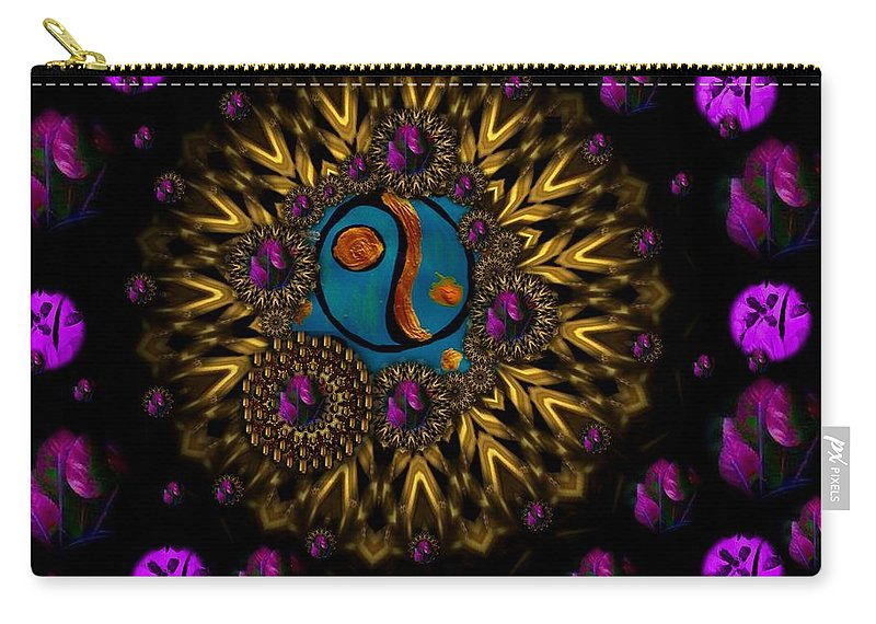 Acryl Carry-all Pouch featuring the mixed media Yin And Yang Collage by Pepita Selles