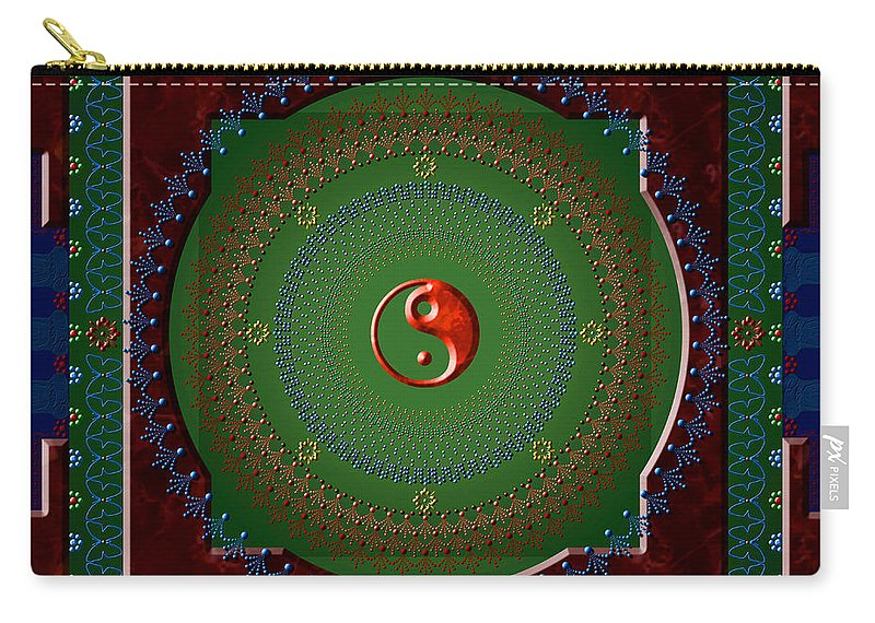 Mandala Carry-all Pouch featuring the digital art Yin Yang by Stephen Lucas