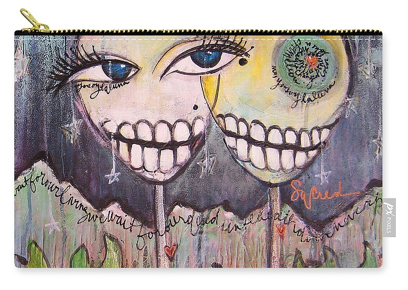 Skull Heads Carry-all Pouch featuring the painting Yo Soy La Luna by Laurie Maves ART