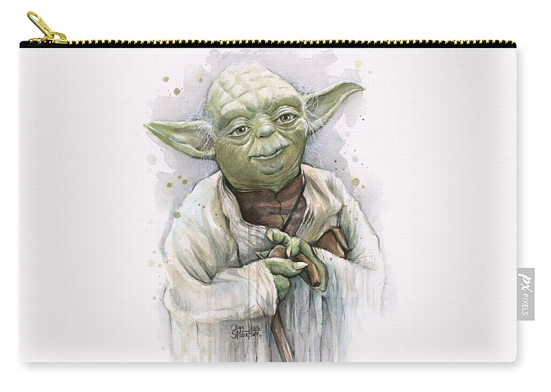 Yoda Carry-all Pouch featuring the painting Yoda by Olga Shvartsur