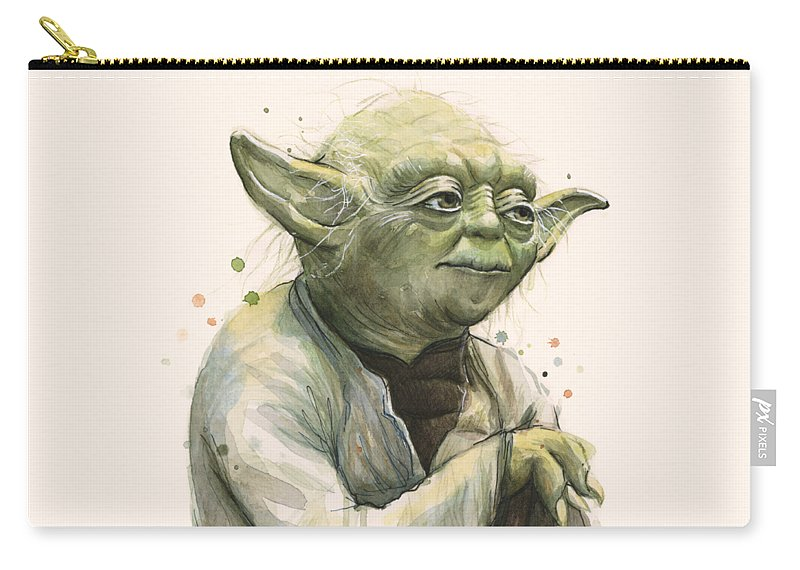 Yoda Carry-all Pouch featuring the painting Yoda Portrait by Olga Shvartsur