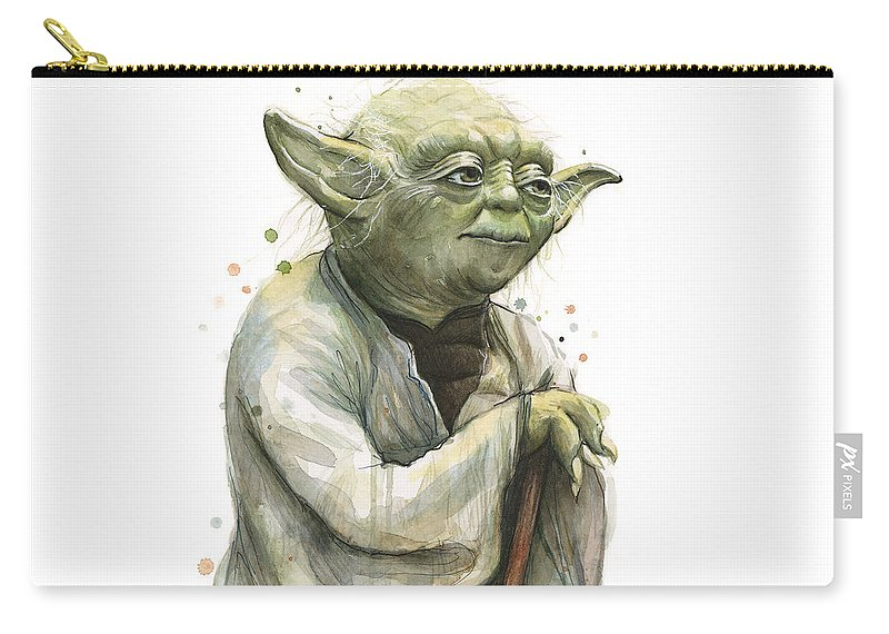 Yoda Carry-all Pouch featuring the painting Yoda Watercolor by Olga Shvartsur