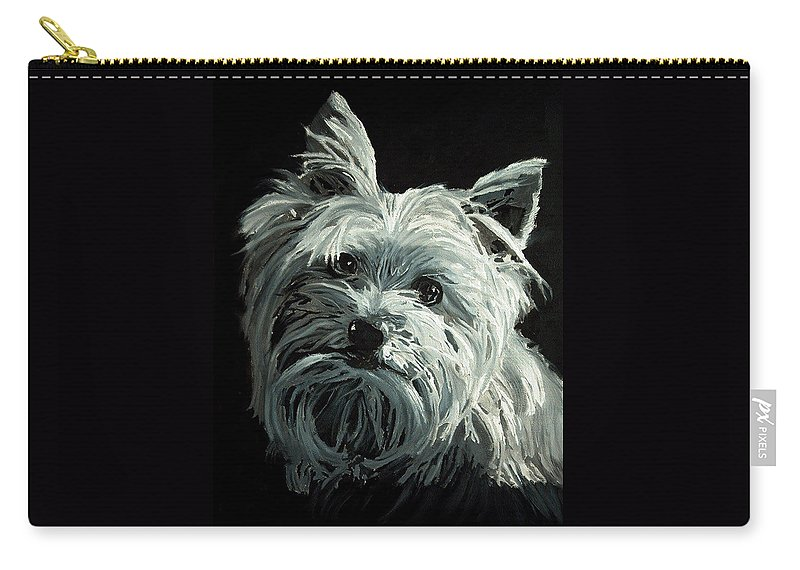 Animals Carry-all Pouch featuring the painting Yorkie by Portraits By NC