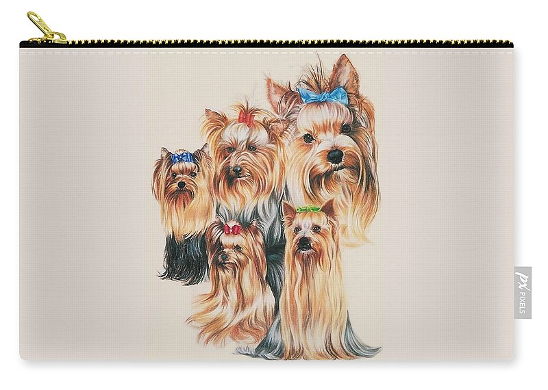 Purebred Carry-all Pouch featuring the drawing Yorkshire Terrier by Barbara Keith