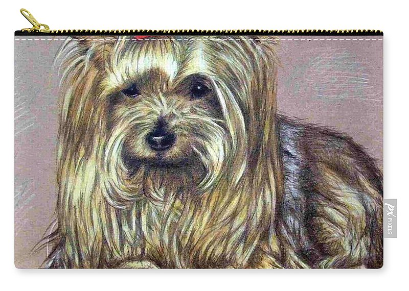 Dog Carry-all Pouch featuring the drawing Yorkshire Terrier by Nicole Zeug