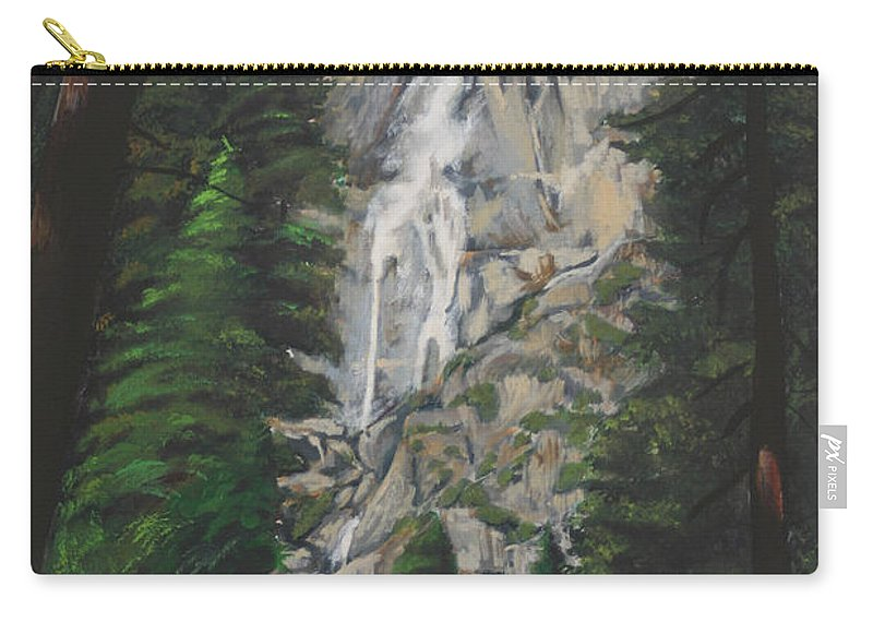 Landscape Carry-all Pouch featuring the painting Yosemite Falls by Travis Day
