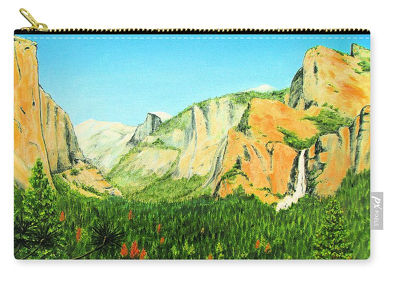 Yosemite National Park Carry-all Pouch featuring the painting Yosemite National Park by Jerome Stumphauzer