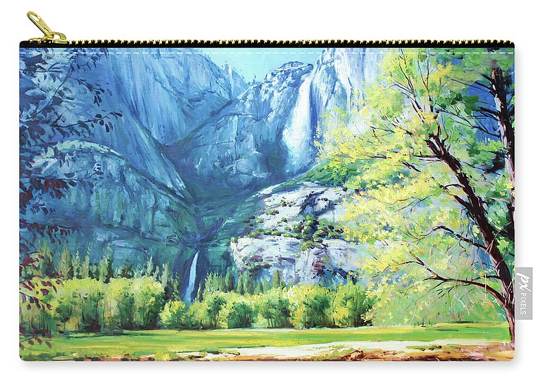Yosemite National Park Carry-all Pouch featuring the painting Yosemite Park by Conor McGuire