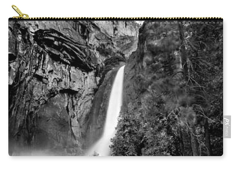 Yosemite National Park Carry-all Pouch featuring the photograph Yosemite Waterfall Bw by Az Jackson