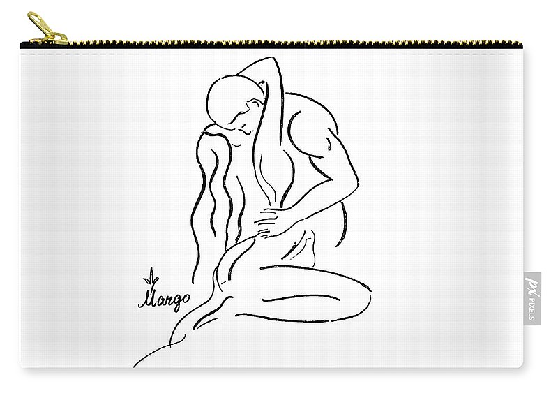 Line Carry-all Pouch featuring the drawing You Are My Universe by Margarita Basalyga