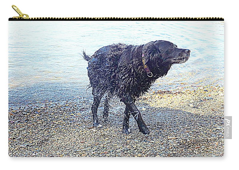 Dog Carry-all Pouch featuring the photograph You Can Tell That I Just Love Bathing by Hilde Widerberg