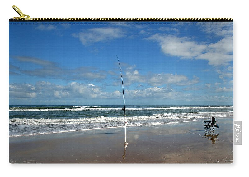 Fish Fishing Vacation Beach Surf Shore Rod Pole Chair Blue Sky Ocean Waves Wave Sun Sunny Bright Carry-all Pouch featuring the photograph You Could Have Been There by Andrei Shliakhau