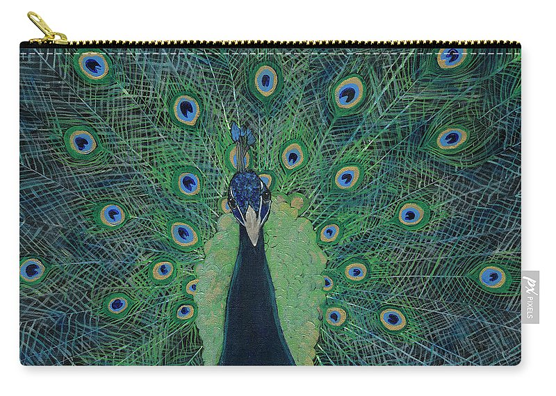 Blue Green Metallic Peacock Carry-all Pouch featuring the painting You Lookin' At Me? by Koni Webb Bosch