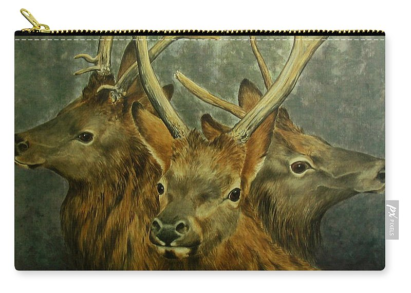 Elk Carry-all Pouch featuring the painting Young Elk Trio- Wapiti by Elaine Booth-Kallweit