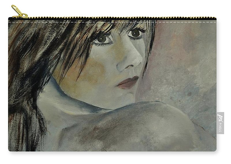 Nude Carry-all Pouch featuring the painting Young Girl 561110 by Pol Ledent