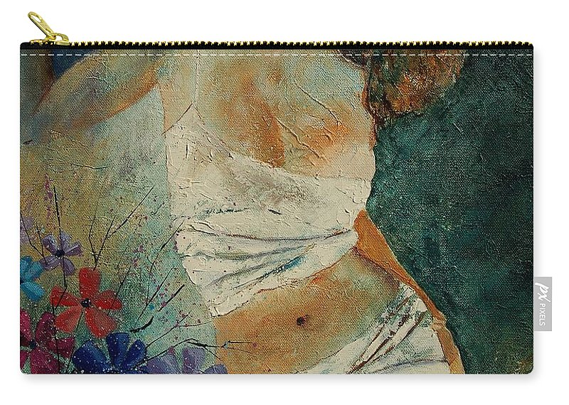 Girl Carry-all Pouch featuring the painting Young Girl 5625632 by Pol Ledent