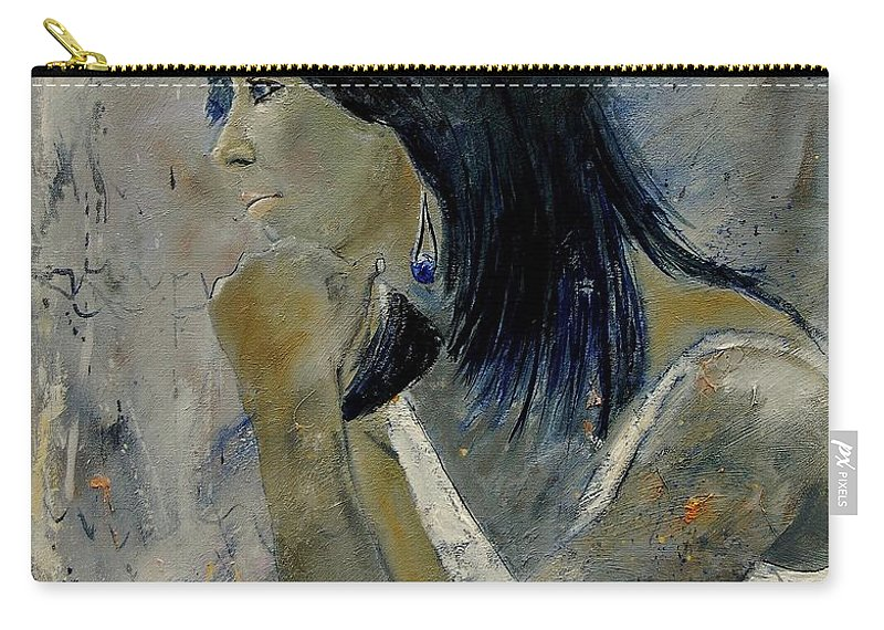Girl Carry-all Pouch featuring the painting Young Girl Eg569090 by Pol Ledent