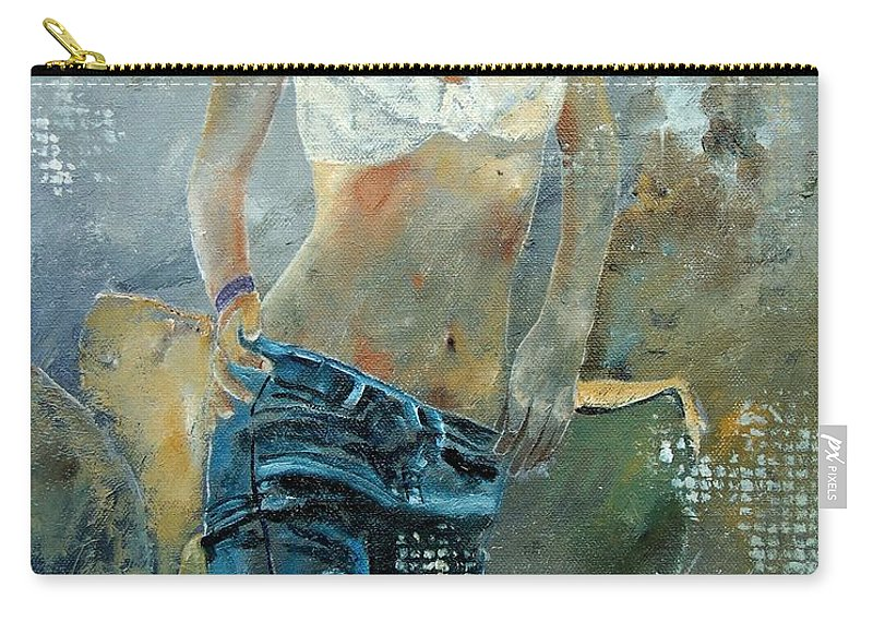 Girl Carry-all Pouch featuring the painting Young Girl In Jeans by Pol Ledent