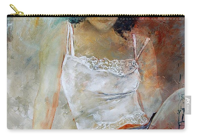 Nude Carry-all Pouch featuring the painting Young Girl Sitting by Pol Ledent
