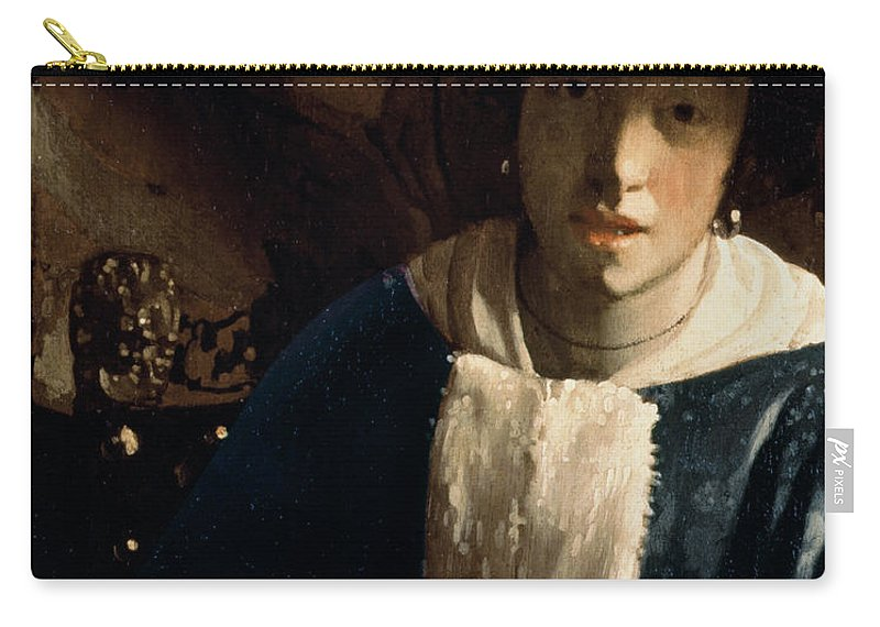 Vermeer Carry-all Pouch featuring the painting Young Girl With A Flute by Jan Vermeer