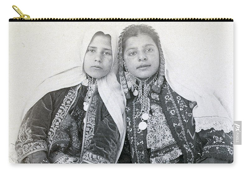 Portraits Carry-all Pouch featuring the photograph Young Girls Of Bethlehem Year 1896 by Munir Alawi
