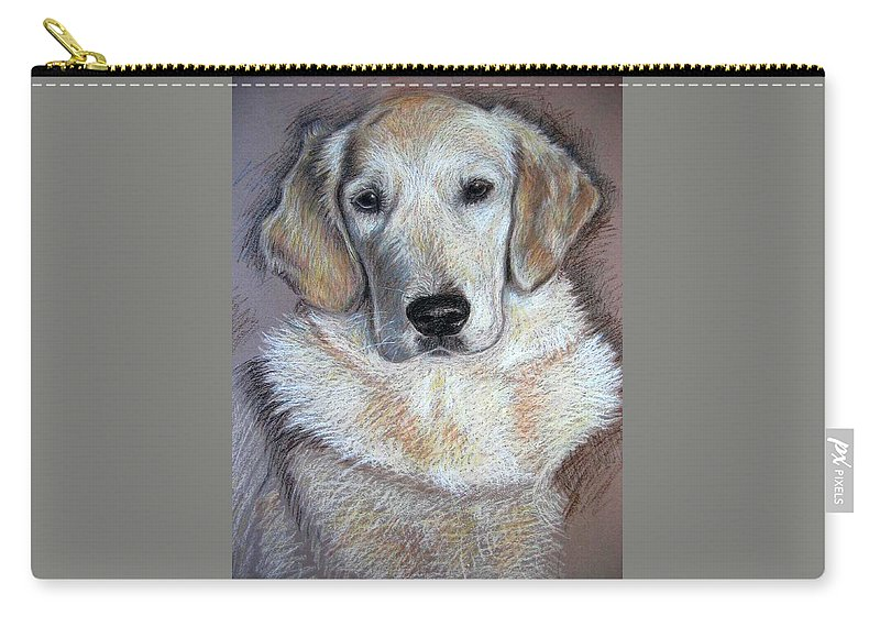 Dog Carry-all Pouch featuring the pastel Young Golden Retriever by Nicole Zeug