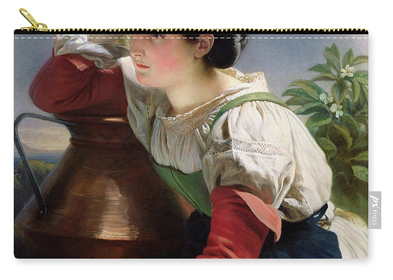 Young Carry-all Pouch featuring the painting Young Italian At The Well by Franz Xaver Winterhalter