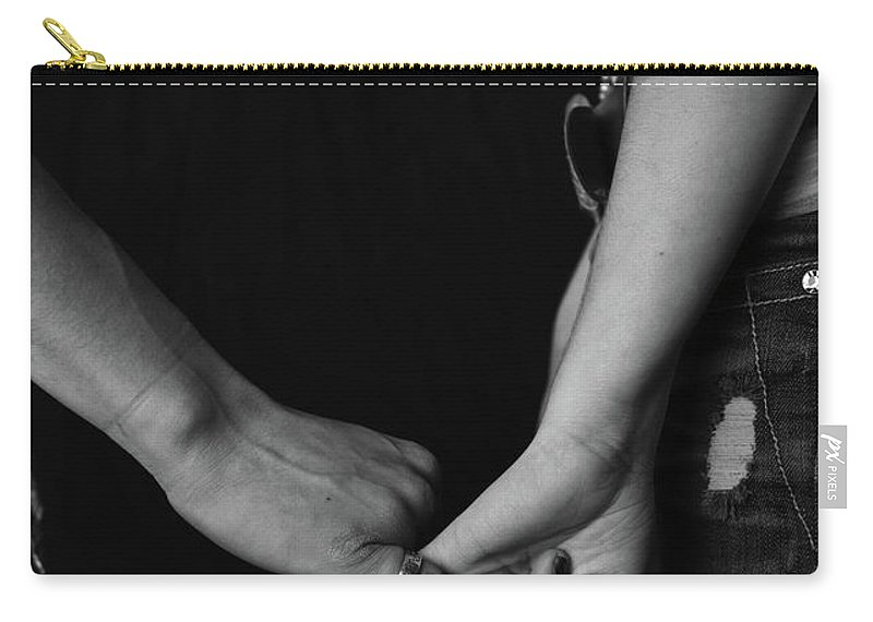 Holding Hands Carry-all Pouch featuring the photograph Young Love - Pinky Touch by Scott Sawyer