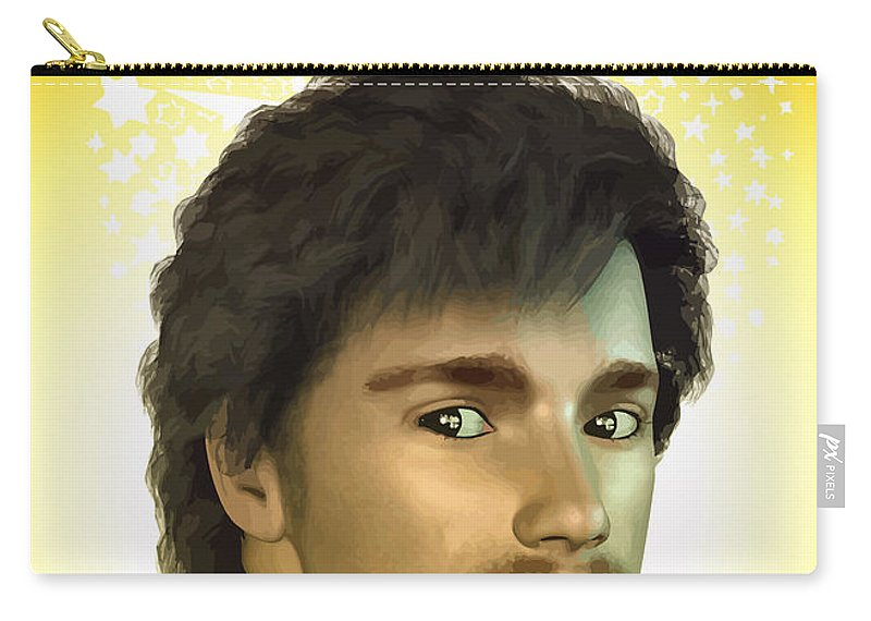 Mustache Carry-all Pouch featuring the digital art Young Man by Joaquin Abella