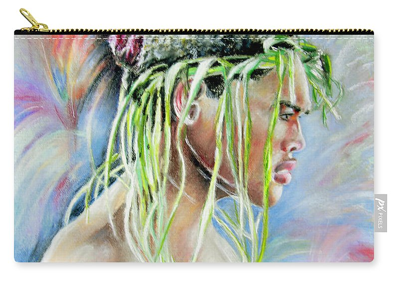 Maori Carry-all Pouch featuring the painting Young Maori Warrior by Miki De Goodaboom