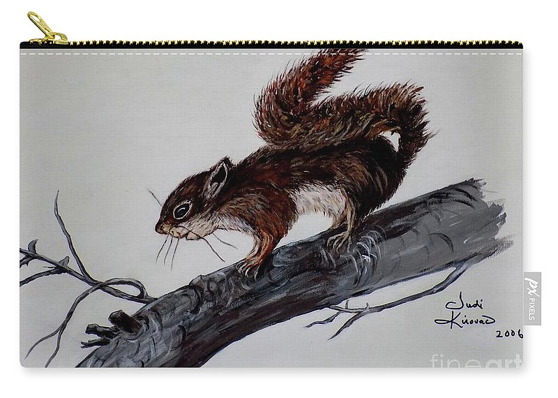 Baby Carry-all Pouch featuring the painting Young Squirrel by Judy Kirouac