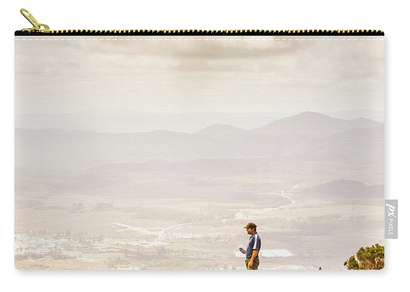 Nature Carry-all Pouch featuring the photograph Young Traveler Looking At Mountain Landscape by Jorgo Photography - Wall Art Gallery