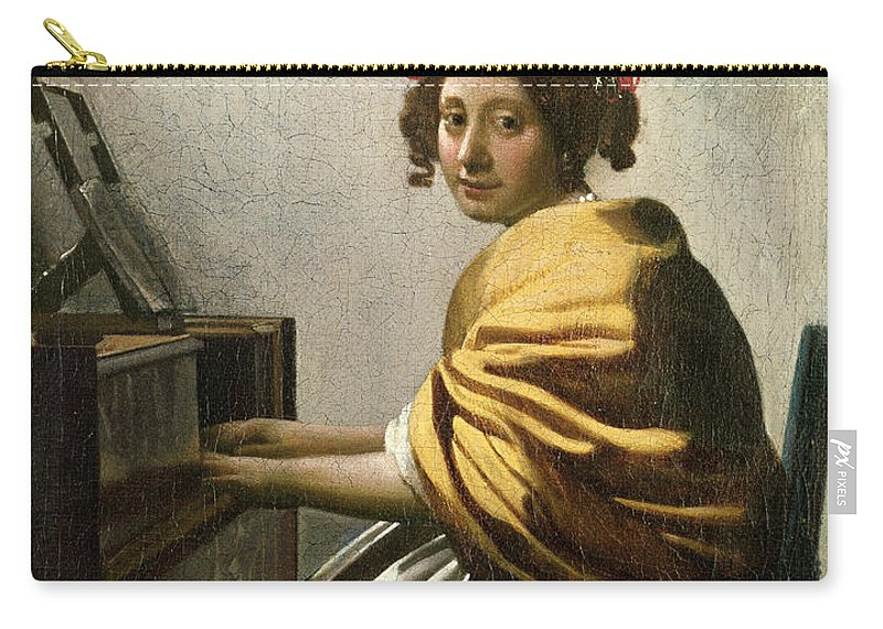 Young Woman At A Virginal (oil On Canvas) By Jan Vermeer (1632-75) Carry-all Pouch featuring the painting Young Woman At A Virginal by Jan Vermeer
