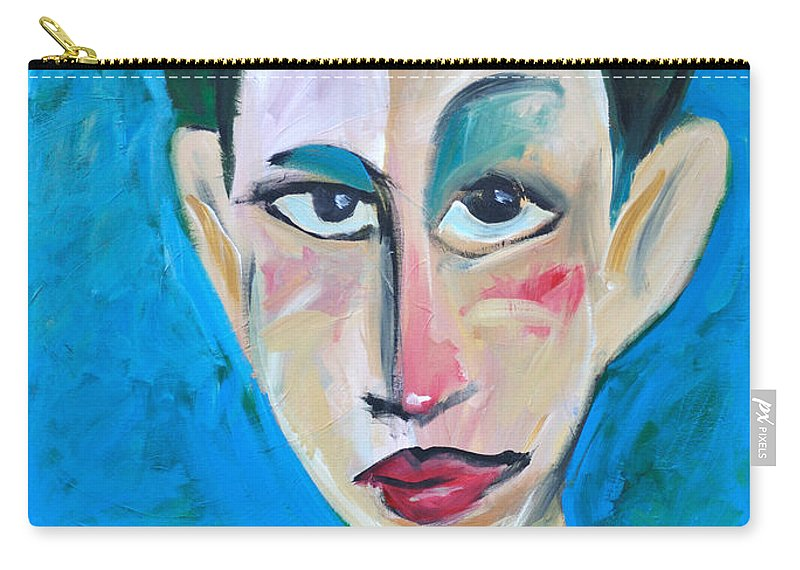Woman Carry-all Pouch featuring the painting Young Woman Green Field by Tim Nyberg