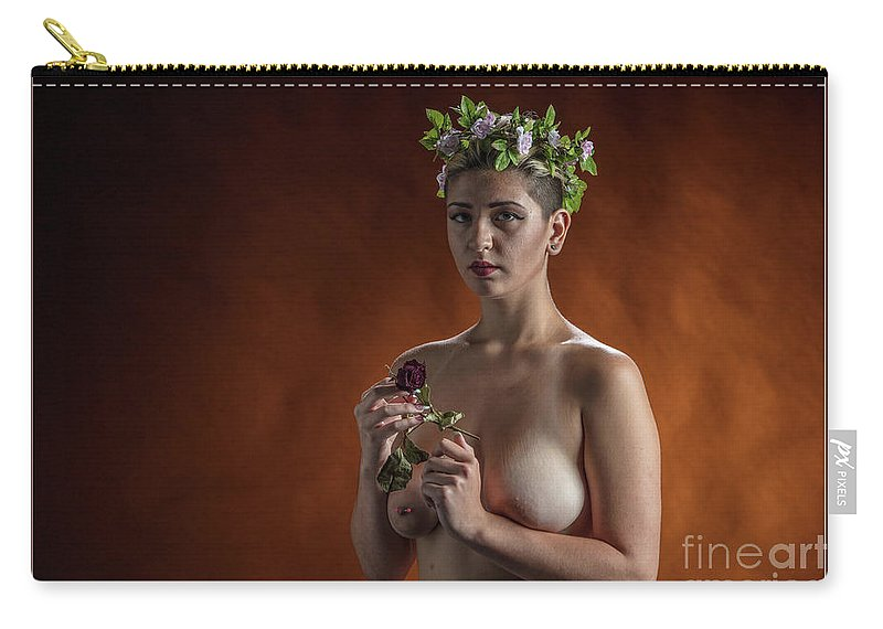 Nude Carry-all Pouch featuring the photograph Young Woman Nude 1729.178 by Kendree Miller