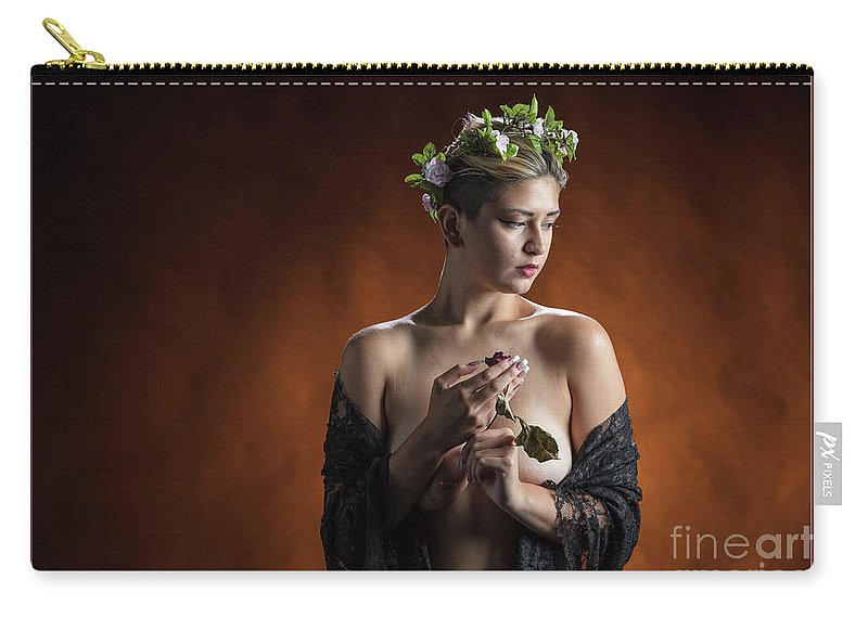 Nude Carry-all Pouch featuring the photograph Young Woman Nude 1729.179 by Kendree Miller
