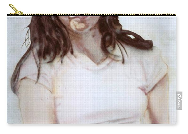 Portrait Carry-all Pouch featuring the painting Young Woman by Ron Bissett