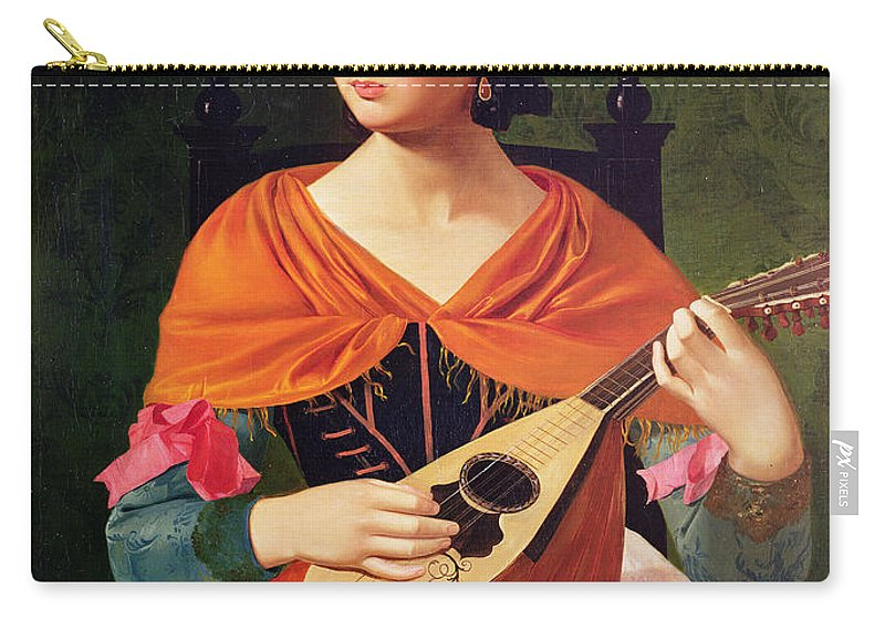 Young Woman With A Mandolin Carry-all Pouch featuring the painting Young Woman With A Mandolin by Vekoslav Karas