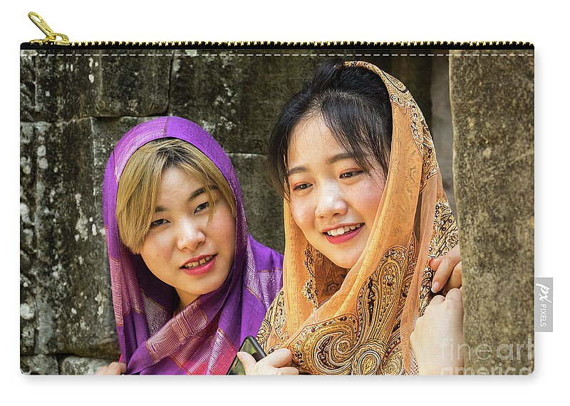 Two Carry-all Pouch featuring the photograph Young Women Silk Scarves 01 by Rick Piper Photography
