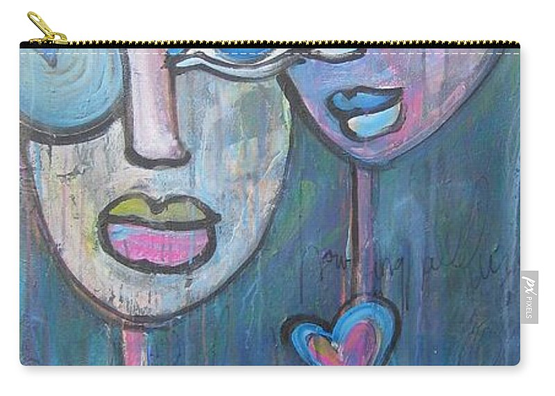 Blue Carry-all Pouch featuring the painting Your Haunted Heart And Me by Laurie Maves ART